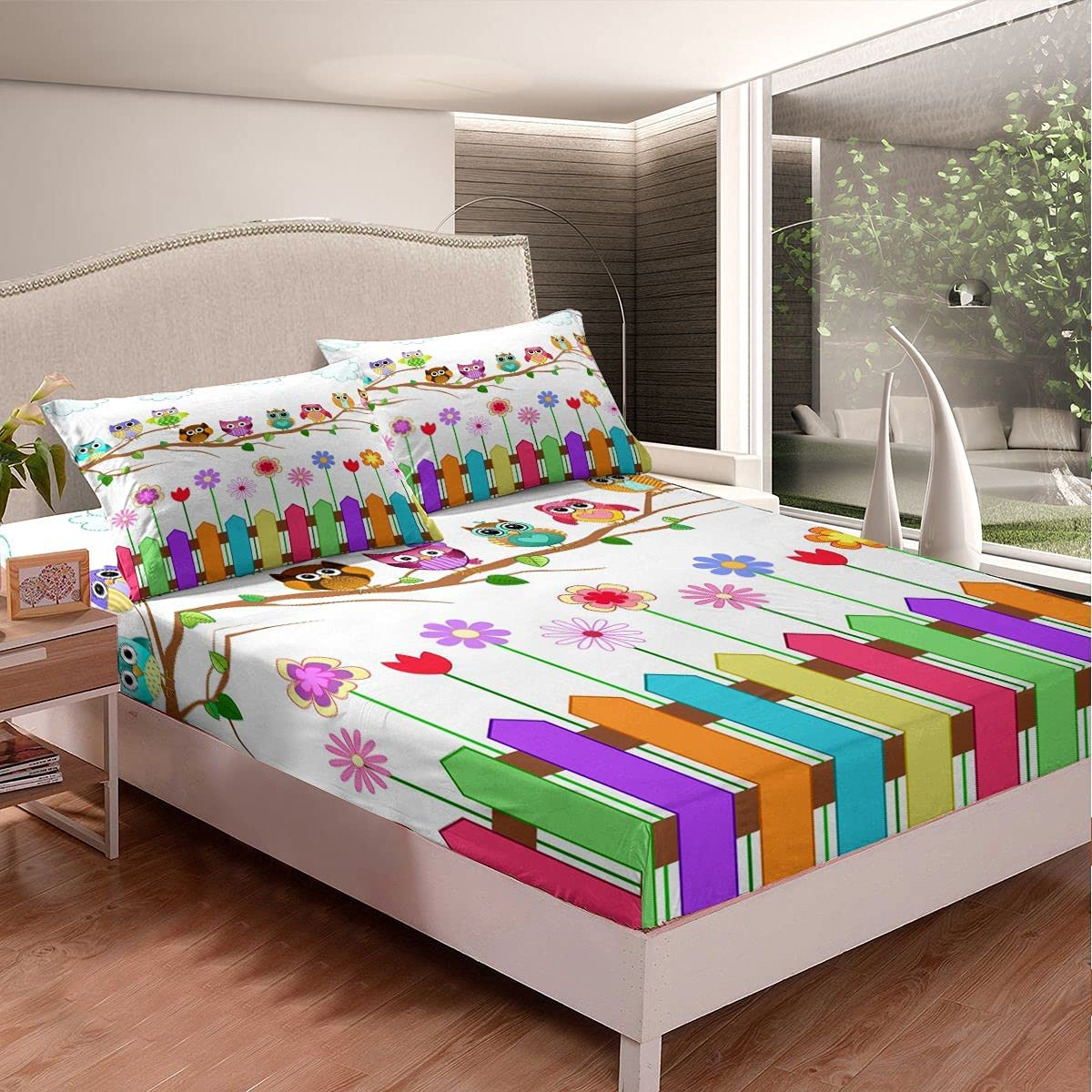 Cartoon Owl Bed Sheet Set Max Department store 57% OFF Decor Branch On Sheets Owls Sunn A