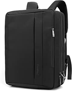 CoolBELL 17.3 inches Convertible Laptop Messenger Bag Oxford Cloth Shoulder Bag Backpack Multi-Functional Briefcase for Laptop/MacBook/Tablet Men/Women (Black)
