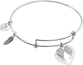 Qina C Rhodium On 925 Sterling Silver Angel Wing Heart Clear CZ Dangle Charm Adjustable Wire Bangle Bracelet