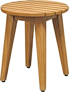 Asta Solid Teak Indoor Outdoor Round Shower/Bath/Spa Stool, Side Table, Fully Assembled, TB-119