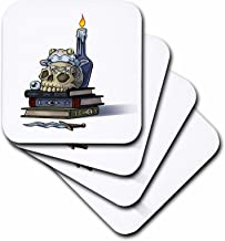 3dRose CST_216779_3 Scary Halloween Skull on Books with A Frog & Candle Ceramic Tile Coasters, (Set of 4)