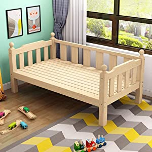GHGJU Children s bed solid wood bed baby widening small bed simple baby stitching bed with guardrail single bed Give your child comfortable sleeping environment  Color Wood  Size 150 40