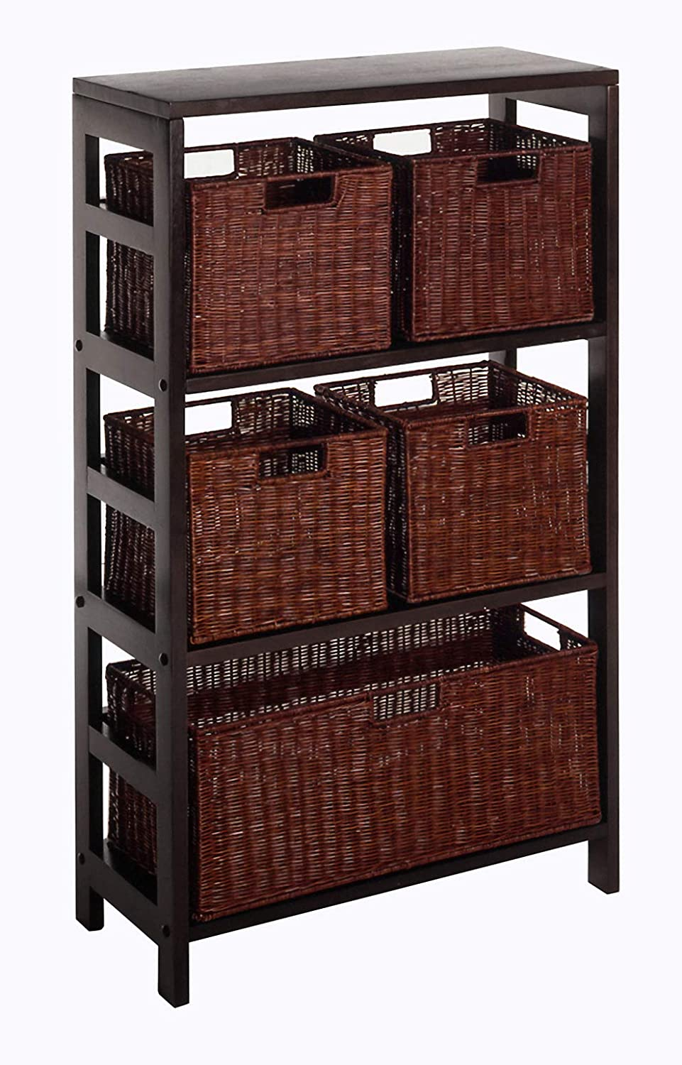 Winsome Wood Leo 4 Tier Shelf with lar low-pricing Rattan Baskets 1 New product type - 5