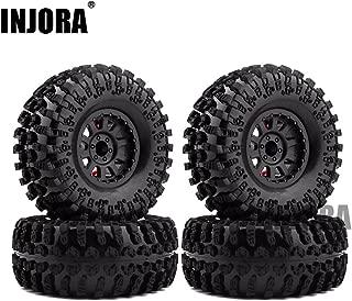 4PCS 2.2 Inch Rubber Tyres & Plastic Beadlock Wheel Rim for 1:10 RC Rock Crawler Axial SCX10 RR10 Wraith Yeti RC Car
