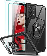 LeYi Coque pour Samsung A32 4G avec Verre trempé [Lot de 2], Cristal Transparente Anneau Support Antichoc Silicone TPU Bumper Protection Rigide Housse Etui pour Samsung A32 4G Noir