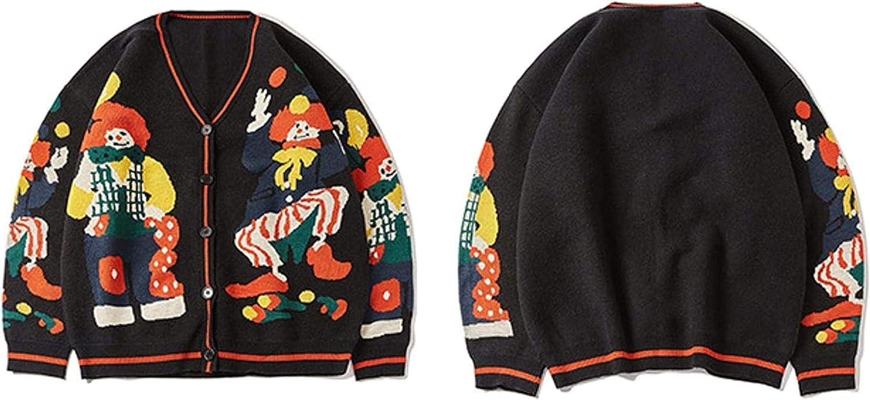 Funny Clown Print Knitted Cardigan Sweater Men Women Hip Hop Sweater Oversize Streetwear Unsiex Knit Jumper