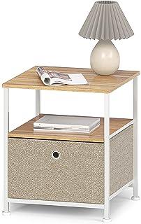 Sängbord metall sidobord med lådor i tyg och öppet fack sängbord nattduksbord fyrkantigt soffbord litet för vardagsrum sov...