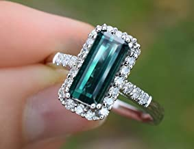 Natural Blue Green Brazil Tourmaline Diamond Ring 2.54 cttw (VS-SI/GH) Cocktail Ring 14K White Gold Size 7