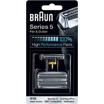 Compatibile con i Rasoi della Serie 5 Braun 51S Testina di Ricambio Argento