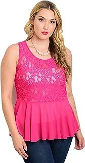 Womens Peplum Top Sheer Lace Solid Fuchsia Sleeveless