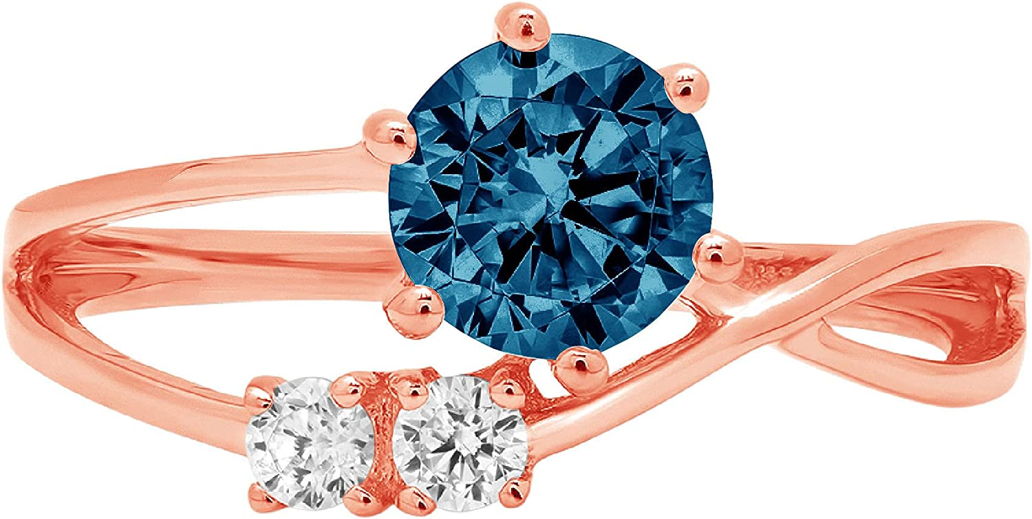 0.85 ct Round Cut 3 stone love Solitaire Genuine Flawless Natural London Blue Topaz Gemstone Engagement Promise Statement Anniversary Bridal Wedding Accent Ring Solid 18K Pink Rose Gold