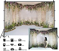 Laeacco Wedding Backdrops 10x6.5ft Flower and Wedding Decoration Photography Background Fresh Flowers Spring Indoor Chic Wall White Floor Ceremony Celebration Girls Adult Portrait