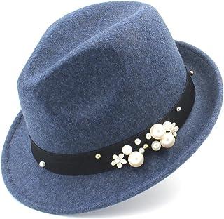 JAUROUXIYUJIN New Women Felt Fedora Hat for Elegant Lady Gangster Cap Homburg Panama Jazz Caps (Color : Blue, Size : 57-58cm)