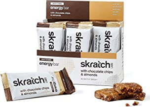 SKRATCH LABS Anytime Energy Bar, Chocolate Chip and Almonds, (12 Pack Single Serving) Natural, Low Sugar, Gluten Free, Vegan, Kosher, Dairy Free