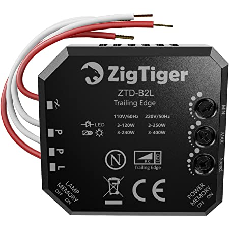 Zigtiger Interruptor regulador de intensidad empotrado, para Luces LED y Bombillas Regulables, con interruptor de atenuación universal, adecuado para dos voltajes diferentes, 110-240V