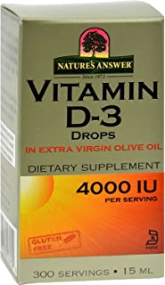 Natures Answer Vitamin D-3 Drops - Vital to Health and Well-Being - 4000 IU - 0.5 fl oz (Pack of 2)
