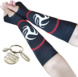 Kids Volleyball Padded Arm Sleeves for Girls and Boys   Reduce Forearm Pain and Indicate Perfect Spot to Hit The Ball   Great Way to Practice Passing   Includes Volleyball Keychain As a Gift  