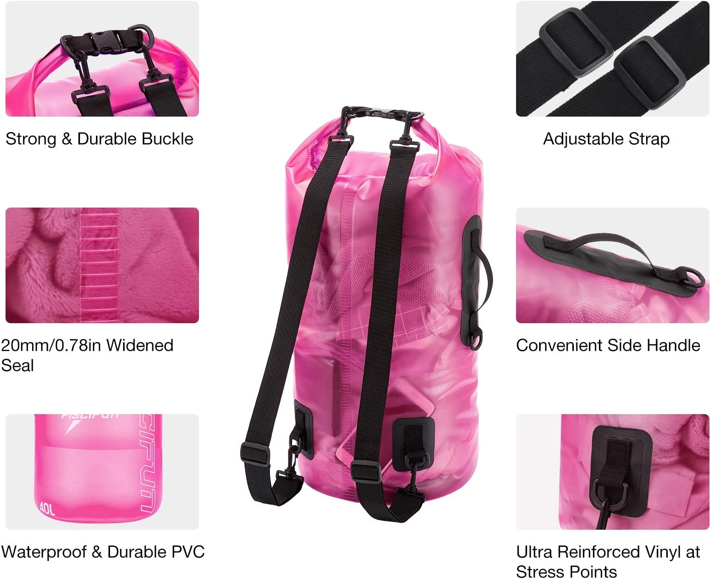 Lightweight Dry Bag Backpack for Beach Piscifun Waterproof Dry Bag with Phone Case for Women and Men Transparent Dry Bag 2L//5L//10L//20L//30L//40L Kayaking Swimming Surfing and Fishing Boating