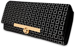 ALSU Women's VELVET AND SYNTHETIC LEATHER Black Hand Clutch Wallet Purse