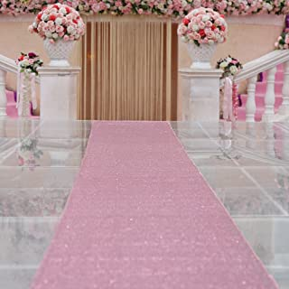 TRLYC 4ftx16ft Sequin Floor Aisles Runner for Wedding-Rose Pink