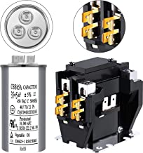 Dual Run Round Capacitor 35+5 uF MFD 370 Volt or 440 Volt Capacitor Replace Z97F9834 for Air Conditioner C140A 24V Coil Contactor Single Pole Contactor Air Conditioner Contactor
