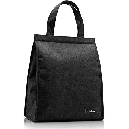 CCidea Lunch Bag For Men & Women, Simple Waterproof Insulated Large Adult Lunch Tote Bag (Black)
