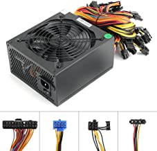 1600W Power Supply for 6 GPU ETH Rig Ethereum Bitcoin Mining Miner Machine, 1600 Watt 90 Plus Gold Certified pc Power Supply/PSU with Silent 140mm Fan and Auto Fan Speed Control, Semi Modular Desig