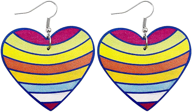 Fashion Leather Earrings Valentine's Day Gift for Women Girls Lightweight Heart Shaped Earrings Jewelry