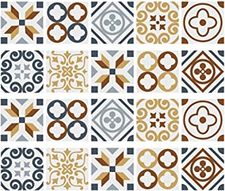 ZUHAUSE Mosaic Peel and Stick Tile Backsplash - 6x6 Inches 20 Pack DIY Self Adhesive Vinyl Tiles Stickers for Kitchen, Bathroom, Wall Panels, Ceiling, Glass Décor (Moroccan Gold)