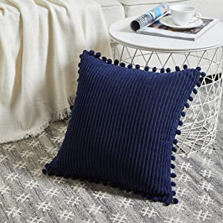 Fancy Homi Boho Navy Blue Decorative Throw Pillow Covers with Pom-poms, Soft Corduroy Solid Square Cushion Cases Set for C...