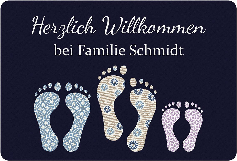Personalisierte Fußmatte mit Füßen - Türmatte mit Namen bedrucken (Familie mit 1 Kind) B01HVAPW0E