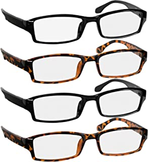 Reading Glasses 2.25 2 Black & 2 Tortoise Fashion Readers for Men & Women - Spring Arms & Dura-Tight Screws Have a Stylish Look and Crystal Clear Vision When You Need It!