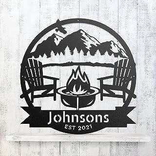 RealSteel Campfire Monogram, Personalized Metal Sign, Camper Decor, Custom Front Door Signs, Monogram Décor, Personalized ...