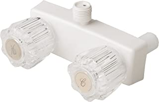 Builders Shoppe 3220AWT RV/Motorhome Replacement Non-Metallic Two Handle Shower Faucet Valve Diverter White Finish