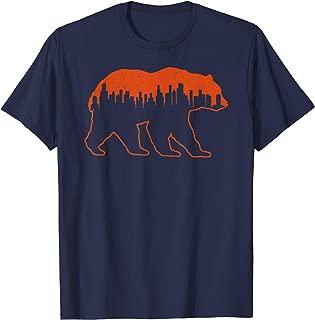 Chicago Football Vintage Skyline Bear Illinois Gift T-Shirt