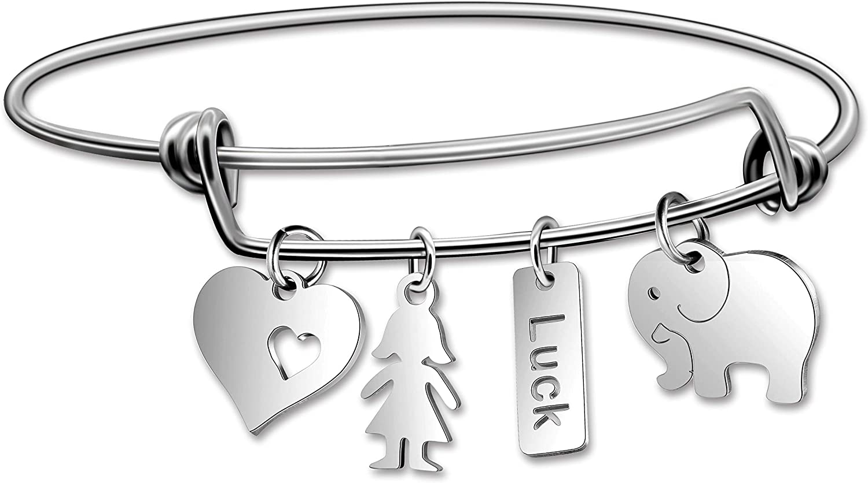Uloveido Girls Boys Stainless Steel Good Luck Elephant Heart Bracelet Y640