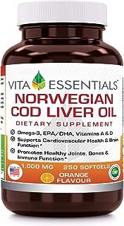 Vita Essentials Norwegian Fish Oil Orange Softgels, 1000 Mg, 250 Count
