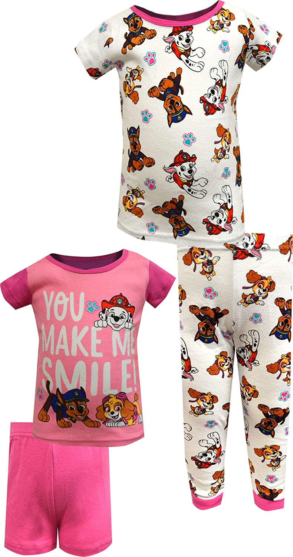 AME Sleepwear Girls' Paw Patrol You Make Me Smile Cotton 4 Piece Infant Pajamas