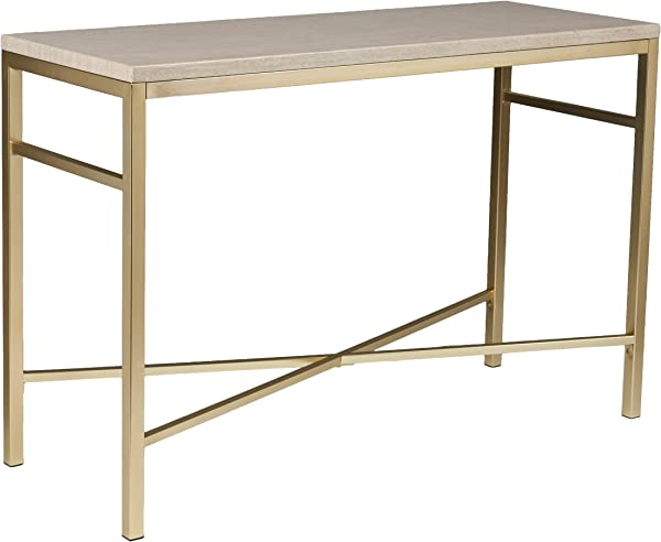 Faux Stone Console Table Matt Brass Metal Frame Glam Style D Cor