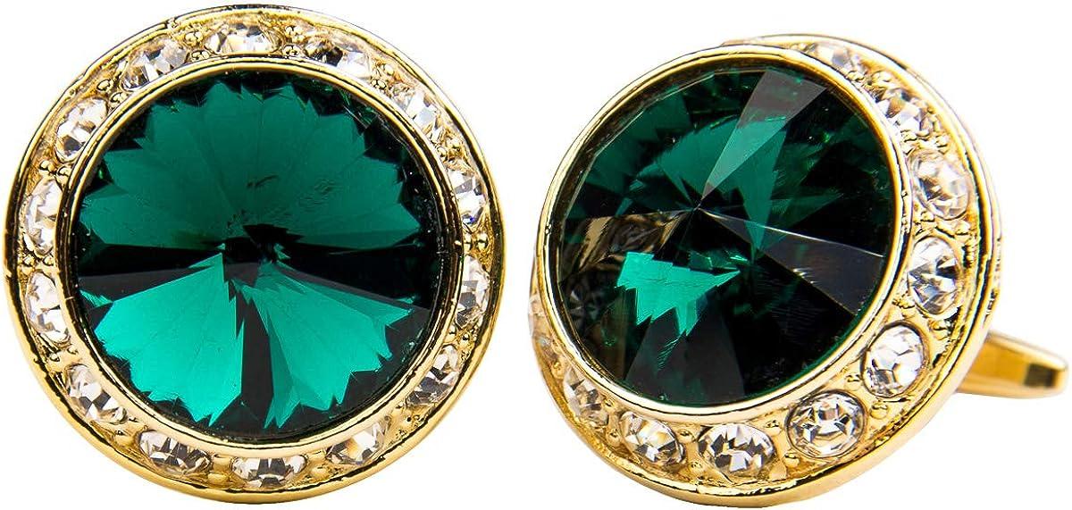 Vittorio Vico Round Colored Crystal Diamond Set Cufflinks by Classy Cufflinks