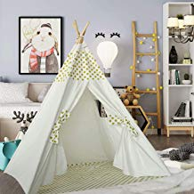 Kids Teepee Tent for Girls Baby Play Teepee for Toddlers Indian Portable Canvas Teepee with Polka Dot Mat for Indoor Outdoor Playhouse