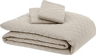 AmazonBasics Oversized Quilt Coverlet Bed Set - Full or Queen, Beige Diamond