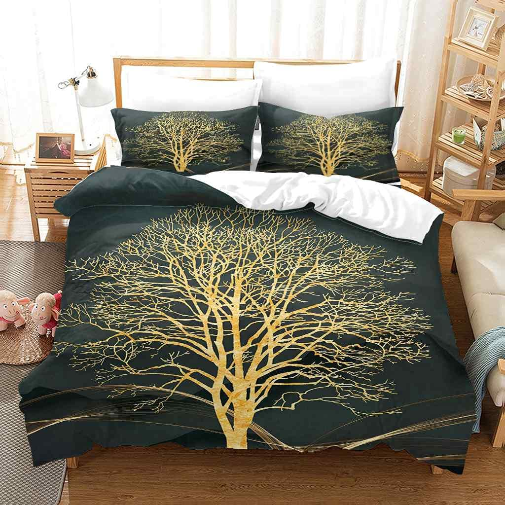 YJREDH Max 71% OFF Comforter Cover Set Teens Art Bedding Golden 2021 autumn and winter new for Tree