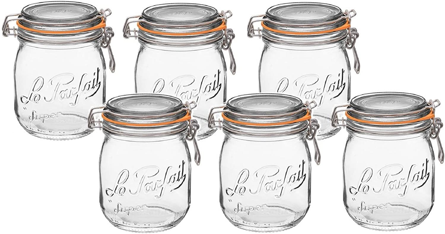 Le Parfait French Super Jar with 85mm Gasket and Lid .75 Liter (Pack of 6)