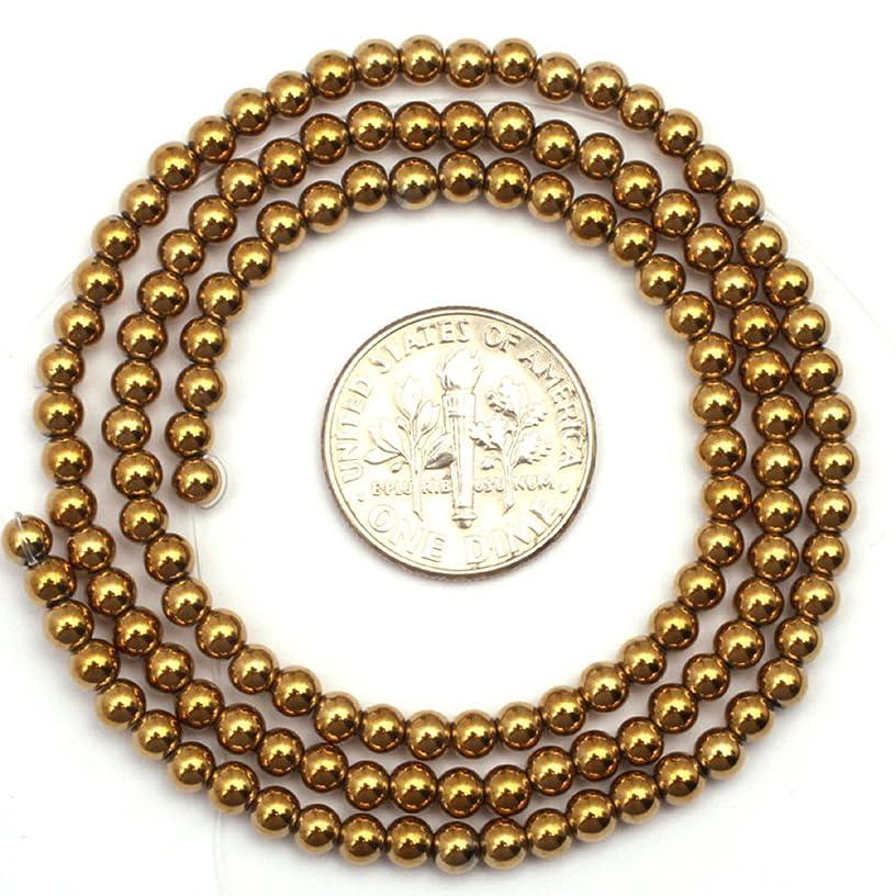 JOE FOREMAN 2mm Hematite Semi Precious Gemstone Round Loose Beads for Jewelry Making Gold Color DIY Handmade Craft Supplies 15