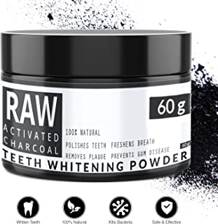 RAW - Carbón Activado de Cáscara de Coco 100% Natural - Blanqueador Dental - Efectivo para Blanqueamiento de Dientes - Quitar Manchas y Placa de los Dientes - By QVENE (60g)