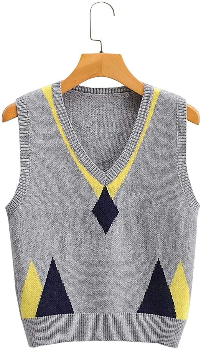 Sweater Vest for Women Spring Autumn Stylish Geometric Argyle V Neck Sleeveless Pullovers Knitted Woman Pullover Tops