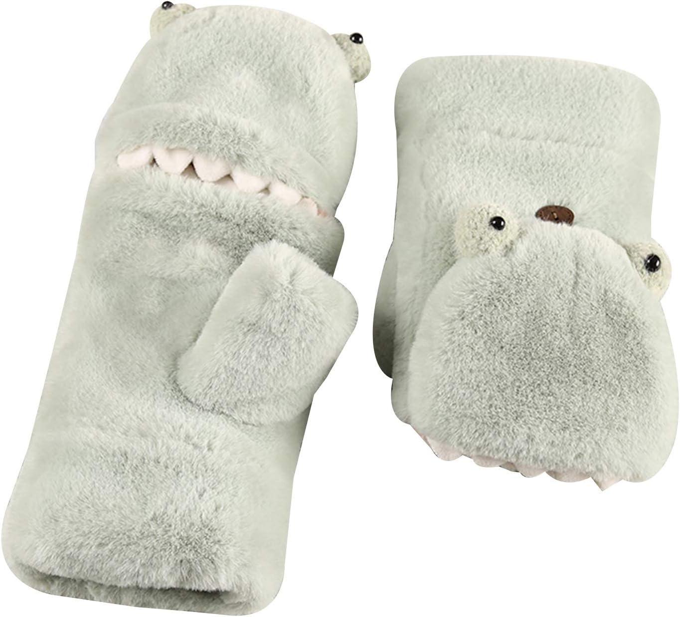 Gloves Girls Gloves Soft Plush Convertible Flip Top Winter Fingerless Cold-Proof Hanging Neck Flip Fingerless Gloves Women (Color : Green)