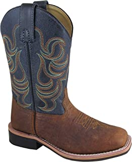 Smoky Children's Jesse Embroidered Leather Western Cowboy Boots - Brown Navy