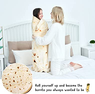CASOFU Burritos Blanket, Double Sided Giant Flour Tortilla Throw Blanket, Novelty Tortilla Blanket for Your Family, 285 GSM S